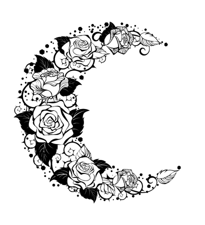 Mystical moon painted black stems and contour roses on a white background. Design with roses. Tattoo style. Gothic style. Tribal graphics. Style sketch.