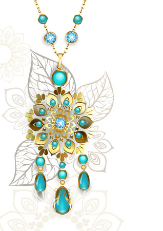 oriental style: Gold Medallion decorated in oriental style on a light turquoise patterned background. Jewelry Design. Gold Jewelry. Oriental pattern. Boho Style.