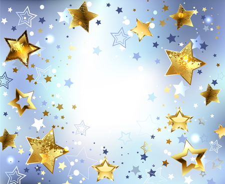 star background: Blue, abstract, light background with gold stars. Design with stars. Golden Star.