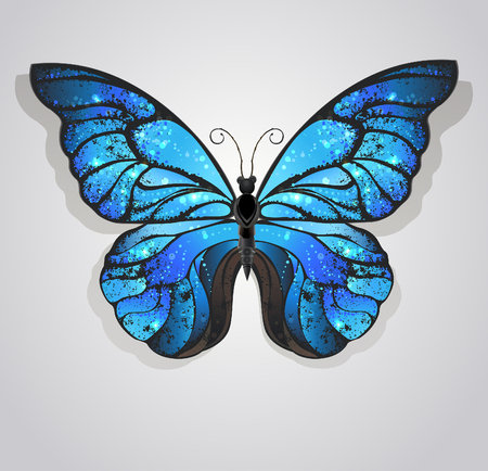 artistically painted blue butterfly morpho textured with iridescent wings on a light background.
