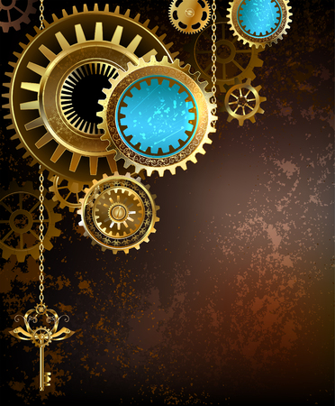 gold and brass gears with a gold key on a rusty textural background.