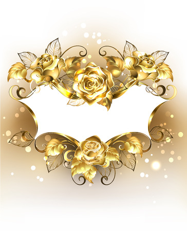 Gold jewelry banner of brocade with gold, shining roses on a light background. Design with roses. Gold rose.