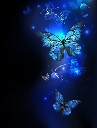 blue, glowing butterflies morpho on a dark background. Morpho. Design with butterflies.