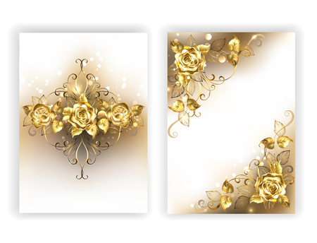 cast: Design of glittering, jewelry, gold roses on a white background. Golden Rose.