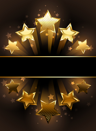 five star: banner with five luxury, gold stars on a black background.
