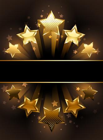transparent z pięcioma luksusowymi, złotymi gwiazdami na czarnym tle. Ilustracje wektorowe