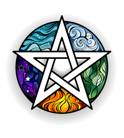 artistically painted magical pentagram with elements of water, earth, air, fire, astral, on a white background. Tattoo style. Magic symbol.