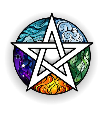 artystycznie malowany magiczną pentagram z elementami woda, ziemia, powietrze, ogień, astralnego, na białym tle. styl tatuaż. Magiczny symbol.