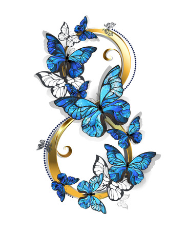 figure of eight: figure eight of gold, decorated with realistic blue butterflies morpho on a white background. Design with butterflies. Morpho. Design with blue butterflies morpho.