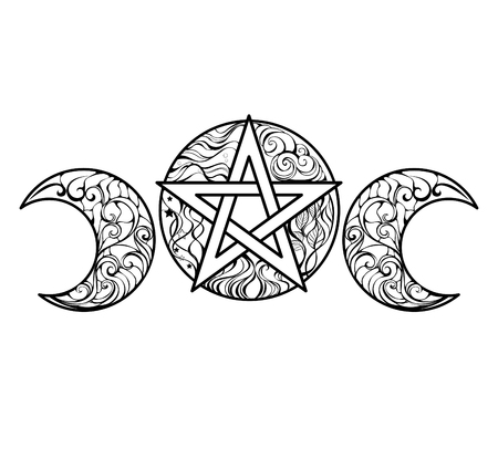 pentagram: Pentagram with magic elements line art design for coloring books, anti stress color. Magic symbol. Tattoo style. Illustration