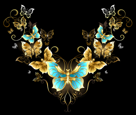 jewelry background: Symmetrical pattern of gold jewelry butterflies on a black background. Golden Butterfly. Design with butterflies.
