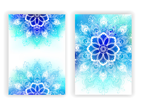 Colorful design with contoured mandala of peacock feathers on the shaded blue and green painted watercolor background. Design with feathers. Mandala of peacock feathers. Boho Style.