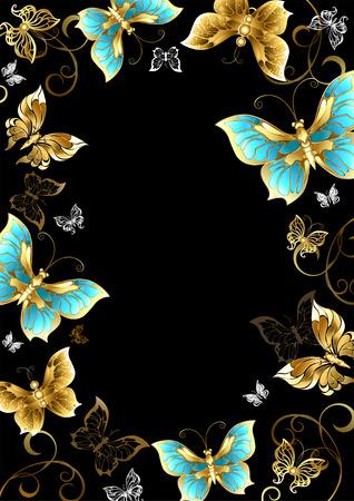 Cornice d'oro, gioielli e farfalle su uno sfondo nero. Progettare con le farfalle. Farfalla d'oro.