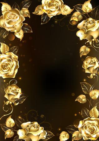 Cadre avec des bijoux étincelants, roses d'or sur un fond noir. Or rose.