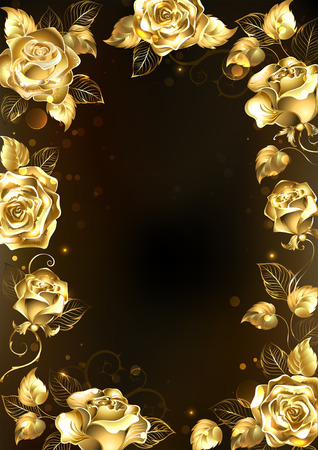Frame with sparkling jewelry, gold roses on a black background. Gold rose.