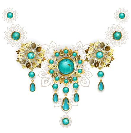 オリエンタル スタイルで作られた宝石ジュエリー ジュエリーは、白地にターコイズで装飾。 ジュエリー デザイン。金の宝石類。東洋のパターン。自由奔放に生きるスタイル。