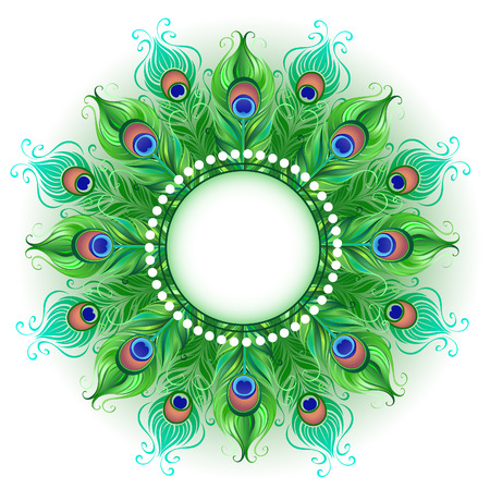 Mandala and bright green, peacock feathers on a white background. Design with bright feathers. Boho Style. Peacock feather. Vectores