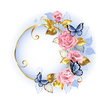 Round gilded banner with pink, delicate roses, blue butterflies, gold and blue leaves on a light background. Design with roses. Pink rose. Trendy colors. Rose Quartz and serenity. Illustration