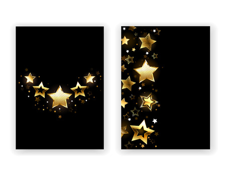 five stars: Brochure design with gold, shining stars on a black background. Five Stars. Design with stars. Golden Star. Illustration