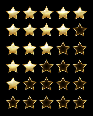 gold stars: Golden shiny rating stars on a black background. Design with gold stars.