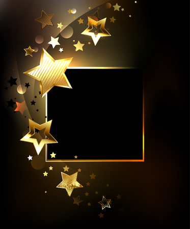 Square banner with gold, jewels glittering stars on a black background. Design with stars. Golden Star.