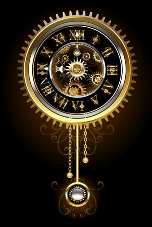 reloj de pendulo: reloj de péndulo en el estilo de los engranajes del steampunk, oro y bronce sobre un fondo negro. estilo steampunk. Diseñar con los engranajes. Diseño técnico. Engranaje del oro.