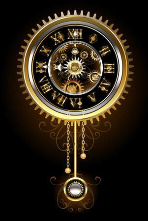 Pendulum clock in the style of steampunk, gold and  brass gears on a black background. Steampunk style. Design with gears. Technical Design. Gold gear.