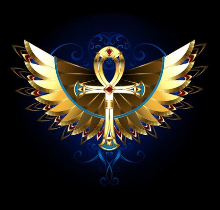 검은 색 바탕에 패턴, 빛나는 날개를 가진 골든 이집트 앙크. 매직 기호. 일러스트