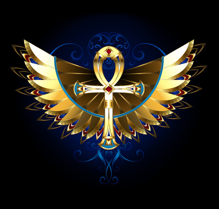 ankh: Golden Egyptian ankh with patterned, shiny wings on a black background. Magic symbol.