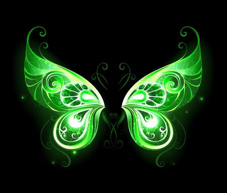 ajenjo: Modelado, verde, brillante alas de hadas sobre un fondo negro. símbolo mágico. Alas de hada. Vectores