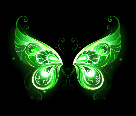 legends: Patterned, green, glowing fairy wings on a black background. Magic symbol. Fairy Wings.