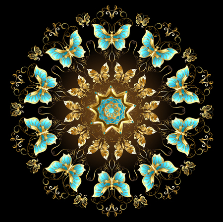 edelstenen: Mandala of gold and turquoise butterflies on a black background. Design with butterflies. Golden Butterfly. Gold mandala Stock Illustratie