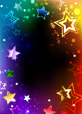 Rainbow, glowing frame with bright stars on a dark background. Design with stars. Rainbow Star.