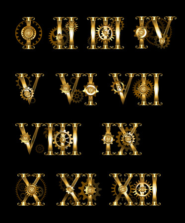 romans: Set of gold, jewelry, isolated Roman numerals set with gears on a black background. Steampunk. Design with golden gears. Gothick style.