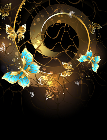 Flying on the luminous spiral, gold and turquoise butterflies on a black background. Design with butterflies. Golden Butterfly.