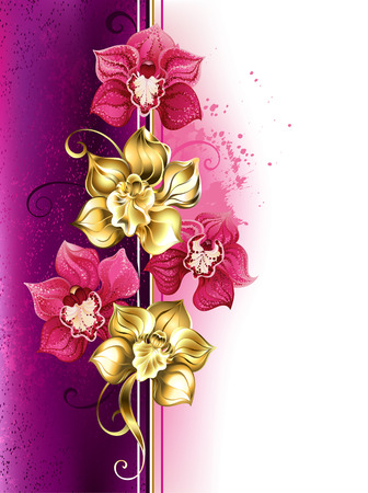Design with gold and bright pink orchids on pink textural background. Design with orchids. Golden Orchid. Design with flowers jewelry