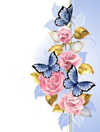 Entwurf mit rosa, zarten Rosen, blaue Schmetterlinge, Gold und blaue Blätter auf einem hellen Hintergrund. Design mit Rosen. Pinke Rose. Trendige Farben. Rosenquarz und Gelassenheit.