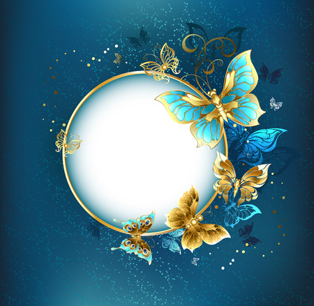 gold jewelry: Round banner with a gold frame decorated with gold jewelry butterflies. Design with butterflies. Golden Butterfly.