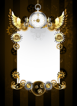 White banner with silver jewelry watches, gold wings, gold and brass gears on a dark, brown, striped background. Steampunk style.  Steampunk wings
