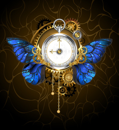 roman numerals: Round the clock in the style of steampunk with blue butterfly wings morpho, with dial with gold Roman numerals, decorated with gold,  silver and brass gears on a dark background. Steampunk style.