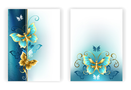 Design for brochure with luxury, jewelry, gold butterflies on a light turquoise and textural background. Golden Butterfly.