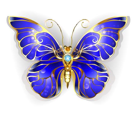 Luxe, bijoux, papillon or avec sombres ailes de saphir bleu sur un fond blanc. Or Papillon Morpho.
