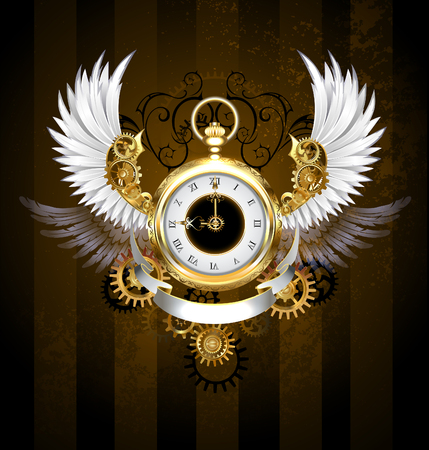 Gold, jewelry watches with a white dial and black numerals, decorated with white plumage, mechanical wings with gold and bronze gears on a dark, brown, striped background. Steampunk style. Gold and brass gears.