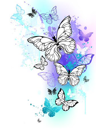Flying butterflies against the background of the contour, shaded purple and turquoise watercolor paint. Morpho. Design with blue butterflies morpho.