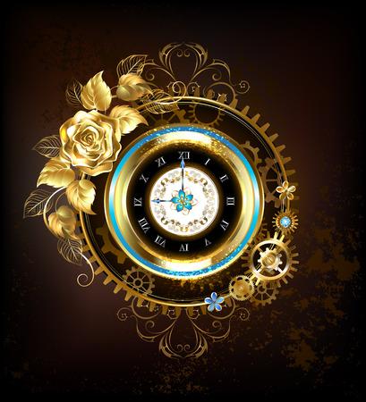 Gold-Uhr, verziert mit Gold und Goldschmuck stieg Getriebe. Steampunk-Stil. Standard-Bild - 68116006