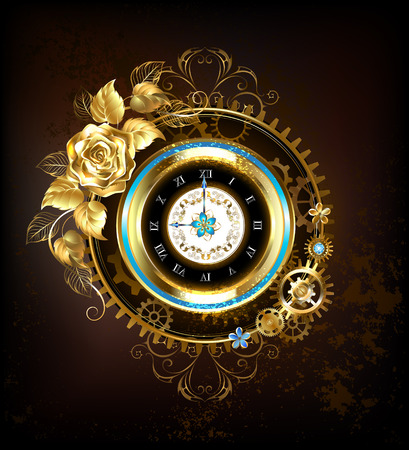 Gold clock, decorated with gold, and gold jewelry rose gears. Steampunk style. Stock Illustratie