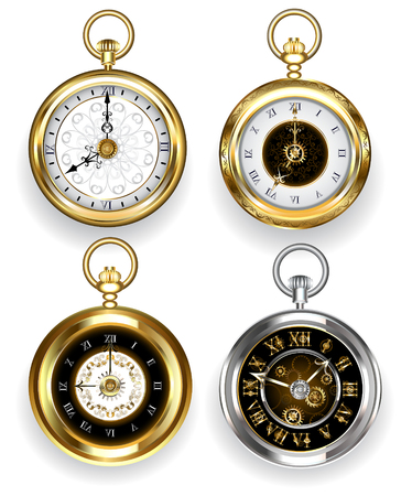 Set of round, gold and silver clock on a white background. Jewelry and Watches.