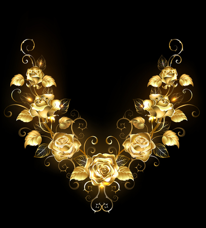 Symmetrical pattern of shiny, gold, twisted roses on a black background. Golden Rose.