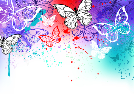 morpho: Flying butterflies against the background of the contour, shaded red, purple and turquoise watercolor paint. Morpho.