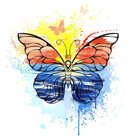metamorphosis: Contour butterfly painted with bright paint, sea, sunset. The unusual idea.